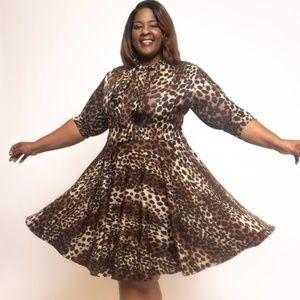 Plus Sz Brown Leopard Print Skater Dress